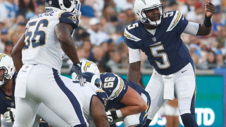 LOS ANGELES, CA – AUGUST 26: Cardale Jones #5 of the Los Angeles Chargers communcates to his team during the preseason game between the Los Angeles Rams and Los Angeles Chargers at the Los Angeles Memorial Coliseum on August 26, 2017 in Los Angeles, California. (Photo by Josh Lefkowitz/Getty Images)