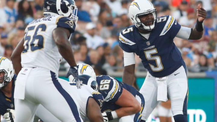 LOS ANGELES, CA - AUGUST 26: Cardale Jones #5 of the Los Angeles Chargers communcates to his team during the preseason game between the Los Angeles Rams and Los Angeles Chargers at the Los Angeles Memorial Coliseum on August 26, 2017 in Los Angeles, California. (Photo by Josh Lefkowitz/Getty Images)