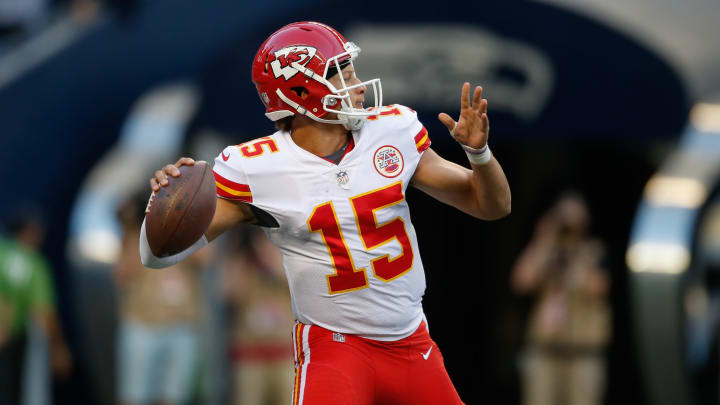 SEATTLE, WA – AUGUST 25: Quarterback Patrick Mahomes #15 of the Kansas City Chiefs passes against the Seattle Seahawks at CenturyLink Field on August 25, 2017 in Seattle, Washington. (Photo by Otto Greule Jr/Getty Images)
