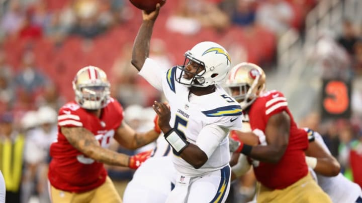 SANTA CLARA, CA - AUGUST 31: Cardale Jones #5 of the Los Angeles Chargers passes the ball against the San Francisco 49ers at Levi's Stadium on August 31, 2017 in Santa Clara, California. (Photo by Ezra Shaw/Getty Images)