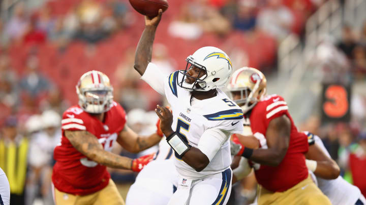 SANTA CLARA, CA – AUGUST 31: Cardale Jones #5 of the Los Angeles Chargers passes the ball against the San Francisco 49ers at Levi's Stadium on August 31, 2017, in Santa Clara, California. (Photo by Ezra Shaw/Getty Images)
