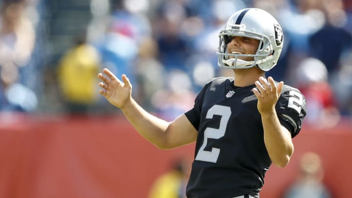 NASHVILLE, TN- SEPTEMBER 10: Kicker Giorgio Tavecchio #2 of the Oakland Raiders reacts after making a field goal against the Tennessee Titans in the second half at Nissan Stadium on September 10, 2017 In Nashville, Tennessee. (Photo by Wesley Hitt/Getty Images)