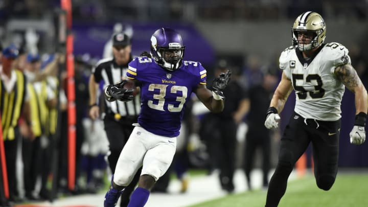 MINNEAPOLIS, MN – SEPTEMBER 11: Dalvin Cook #33 of the Minnesota Vikings carries the ball in the second half of the game against the New Orleans Saints on September 11, 2017 at U.S. Bank Stadium in Minneapolis, Minnesota. (Photo by Hannah Foslien/Getty Images)