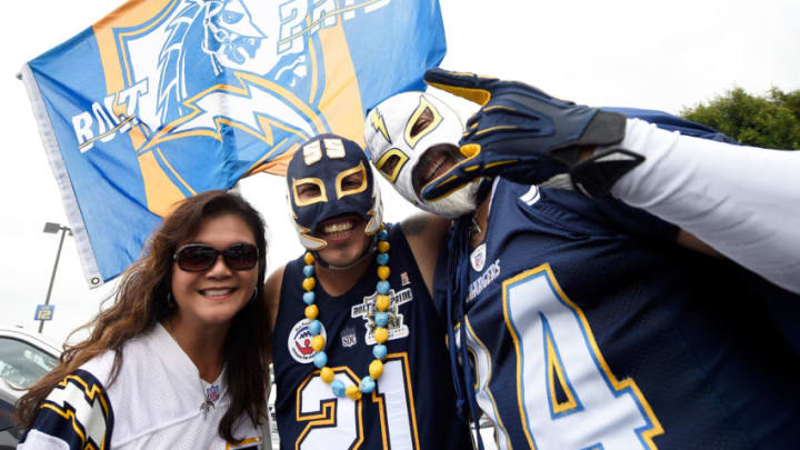 CARSON, CA - SEPTEMBER 17: Los Angeles Chargers fans are seen before the NFL game against the Miami Dolphins at the StubHub Center on September 17, 2017 in Carson, California. (Photo by Kevork Djansezian/Getty Images)