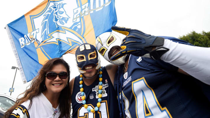 CARSON, CA – SEPTEMBER 17: Los Angeles Chargers fans are seen before the NFL game against the Miami Dolphins at the StubHub Center on September 17, 2017 in Carson, California. (Photo by Kevork Djansezian/Getty Images)