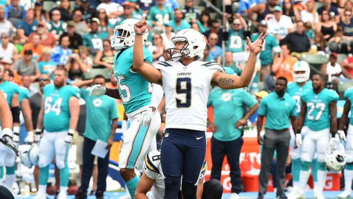 CARSON, CA - SEPTEMBER 17: Younghoe Koo #9 of the Los Angeles Chargers reacts after a field goal against Miami Dolphins during the first half of the NFL game at the StubHub Center September 17, 2017, in Carson, California. (Photo by Kevork Djansezian/Getty Images)
