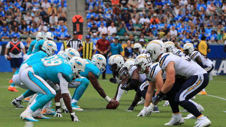 CARSON, CA – SEPTEMBER 17: The Miami Dolphins offensive line lines up against the Los Angeles Chargers defensive line during the first half of a game at StubHub Center on September 17, 2017 in Carson, California. (Photo by Sean M. Haffey/Getty Images)