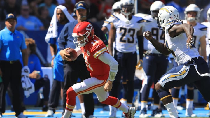 CARSON, CA – SEPTEMBER 24: Alex Smith #11 of the Kansas City Chiefs runs the ball during the game against the Los Angeles Chargers at the StubHub Center on September 24, 2017 in Carson, California. (Photo by Sean M. Haffey/Getty Images)