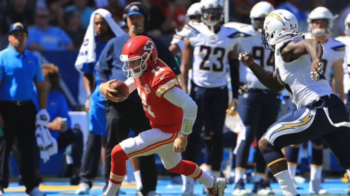 CARSON, CA - SEPTEMBER 24: Alex Smith #11 of the Kansas City Chiefs runs the ball during the game against the Los Angeles Chargers at the StubHub Center on September 24, 2017 in Carson, California. (Photo by Sean M. Haffey/Getty Images)