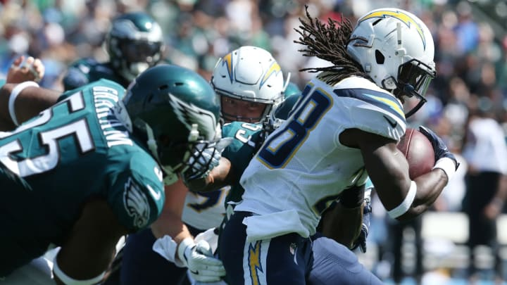 CARSON, CA – OCTOBER 01: Melvin Gordon #28 of the Los Angeles Chargers runs down field during the game against the Philadelphia Eagles at StubHub Center on October 1, 2017 in Carson, California. (Photo by Stephen Dunn/Getty Images)