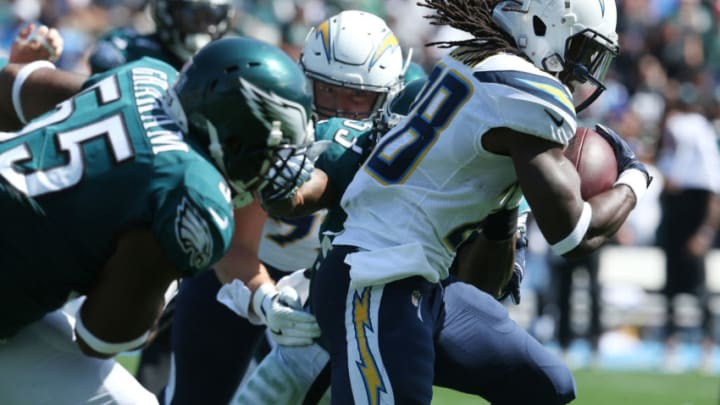 CARSON, CA - OCTOBER 01: Melvin Gordon #28 of the Los Angeles Chargers runs down field during the game against the Philadelphia Eagles at StubHub Center on October 1, 2017 in Carson, California. (Photo by Stephen Dunn/Getty Images)