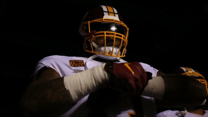 PHILADELPHIA, PA - OCTOBER 23: Trent Williams #71 of the Washington Redskins enters the field to take on the Philadelphia Eagles during their game at Lincoln Financial Field on October 23, 2017 in Philadelphia, Pennsylvania. (Photo by Abbie Parr/Getty Images)