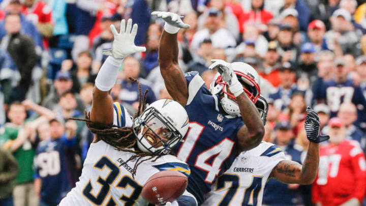 FOXBORO, MA - OCTOBER 29: Tre Boston #33 of the Los Angeles Chargers blocks a pass intended for Brandin Cooks #14 of the New England Patriots during the second quarter of a game at Gillette Stadium on October 29, 2017 in Foxboro, Massachusetts. (Photo by Jim Rogash/Getty Images)