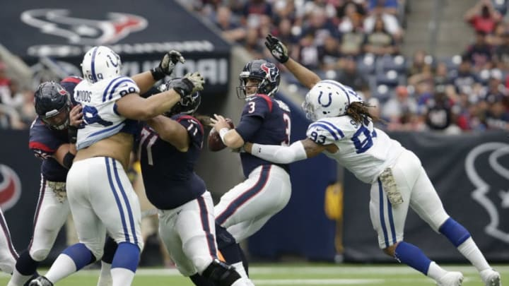 HOUSTON, TX - NOVEMBER 05: Jabaal Sheard #93 of the Indianapolis Colts sacks Tom Savage #3 of the Houston Texans in the second quarter at NRG Stadium on November 5, 2017 in Houston, Texas. (Photo by Tim Warner/Getty Images)