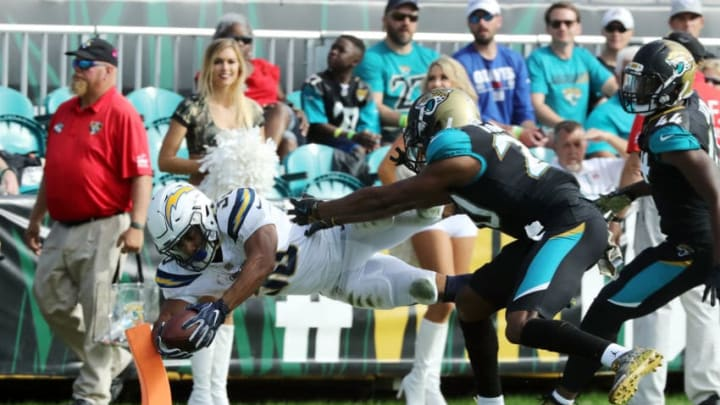 JACKSONVILLE, FL - NOVEMBER 12: Austin Ekeler #30 of the Los Angeles Chargers beats Jalen Ramsey #20 of the Jacksonville Jaguars for a 22-yard touchdown in the second half of their game at EverBank Field on November 12, 2017 in Jacksonville, Florida. (Photo by Sam Greenwood/Getty Images)