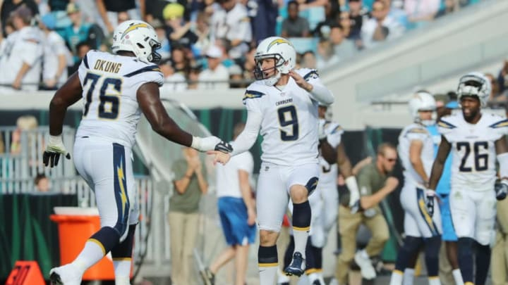 JACKSONVILLE, FL - NOVEMBER 12: Nick Novak #9 of the Los Angeles Chargers celebrates after he hit for a 50-yard field goal in the second half of their game against the Jacksonville Jaguars at EverBank Field on November 12, 2017 in Jacksonville, Florida. (Photo by Sam Greenwood/Getty Images)
