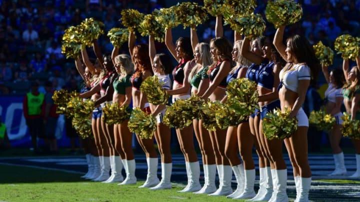 CARSON, CA - NOVEMBER 19: The Charger Girls are seen during the game against the Buffalo Bills at the StubHub Center on November 19, 2017 in Carson, California. (Photo by Harry How/Getty Images)