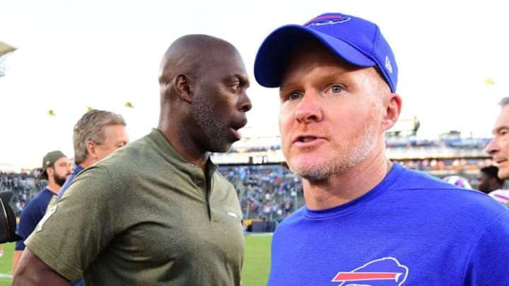 CARSON, CA - NOVEMBER 19: (L-R) Head Coach Anthony Lynns of the Los Angeles Chargers and Head Coach Sean McDermott of the Buffalo Bills shake hands after the game at the StubHub Center on November 19, 2017 in Carson, California. (Photo by Harry How/Getty Images)