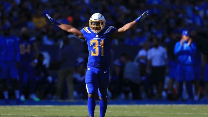 CARSON, CA - DECEMBER 03: Adrian PhCARSON, CA - DECEMBER 03: Adrian Phillips #31 of the Los Angeles Chargers reacts after a broken up pass play during the first quarter of the game against the Cleveland Browns at StubHub Center on December 3, 2017 in Carson, California. (Photo by Sean M. Haffey/Getty Images)illips #31 of the Los Angeles Chargers reacts after a broken up pass play during the first quarter of the game against the Cleveland Browns at StubHub Center on December 3, 2017 in Carson, California. (Photo by Sean M. Haffey/Getty Images)