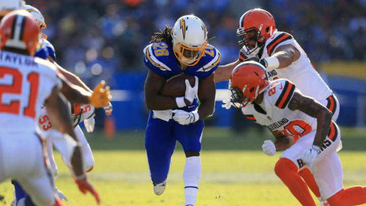 CARSON, CA - DECEMBER 03: Melvin Gordon #28 of the Los Angeles Chargers runs the ball down field during the game against the Cleveland Browns at StubHub Center on December 3, 2017 in Carson, California. (Photo by Sean M. Haffey/Getty Images)