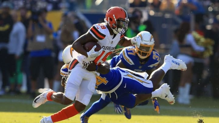 CARSON, CA - DECEMBER 03: Melvin Ingram #54 of the Los Angeles Chargers tackles Corey Coleman #19 of the Cleveland Browns during the first half of the game at StubHub Center on December 3, 2017 in Carson, California. (Photo by Sean M. Haffey/Getty Images)