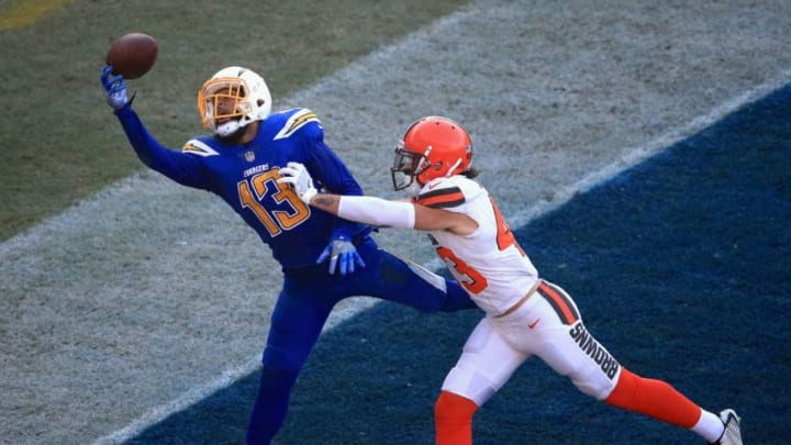 CARSON, CA - DECEMBER 03: Kai Nacua #43 of the Cleveland Browns breaks up a pass intended for Keenan Allen #13 of the Los Angeles Chargers during the second half of a game at StubHub Center on December 3, 2017 in Carson, California. (Photo by Sean M. Haffey/Getty Images)