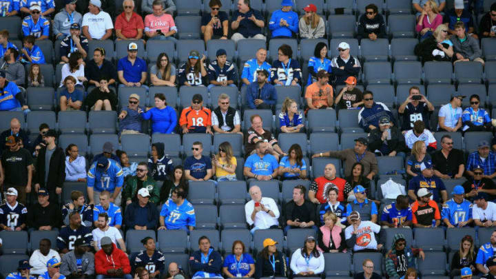 CARSON, CA - DECEMBER 03: Fans watch a game between the Los Angeles Chargers and the Cleveland Browns during the second half of a game at StubHub Center on December 3, 2017 in Carson, California. (Photo by Sean M. Haffey/Getty Images)