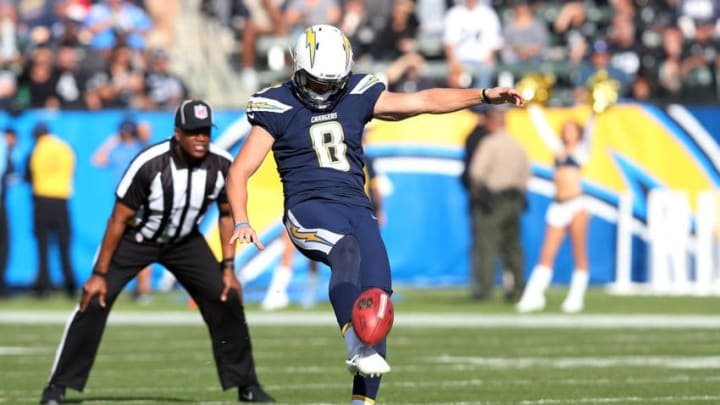 CARSON, CA - DECEMBER 31: Drew Kaser #8 of the Los Angeles Chargers punts during the first half of the game against the Oakland Raiders at StubHub Center on December 31, 2017 in Carson, California. (Photo by Stephen Dunn/Getty Images)