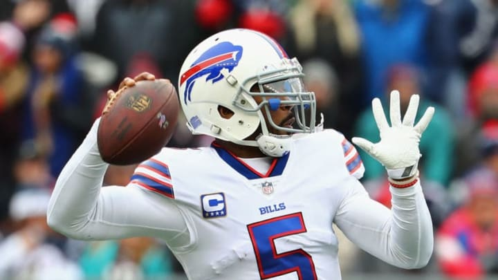 FOXBORO, MA - DECEMBER 24: Tyrod Taylor #5 of the Buffalo Bills throws a pass against the New England Patriots at Gillette Stadium on December 24, 2017 in Foxboro, Massachusetts. (Photo by Tim Bradbury/Getty Images)