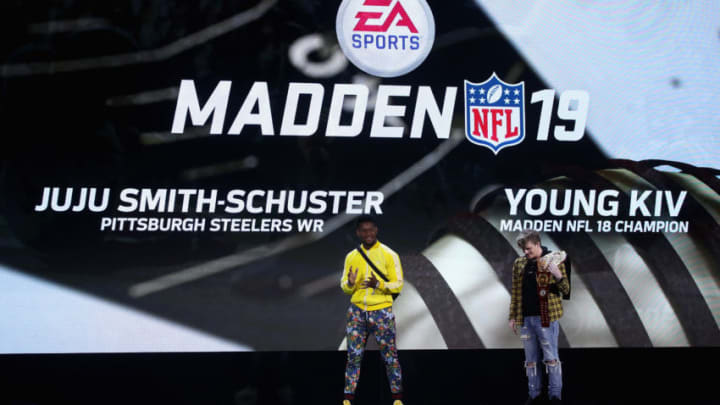 LOS ANGELES, CA - JUNE 09: JuJu Smith-Schuster of the Pittsburgh Steelers and Young Kiv, Madden 18 Champion, speak on-stage about 'Madden 19' during the Electronic Arts EA Play event at the Hollywood Palladium on June 9, 2018 in Los Angeles, California. The E3 Game Conference begins on Tuesday June 12. (Photo by Christian Petersen/Getty Images)
