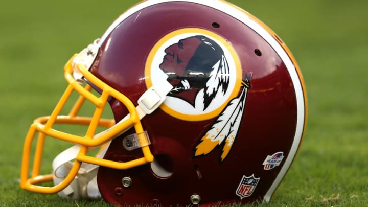 LANDOVER, MD - SEPTEMBER 03: A detailed view of a Washington Redskins helmet before the Washington Redskins play the Jacksonville Jaguars at FedExField on September 3, 2015 in Landover, Maryland. (Photo by Patrick Smith/Getty Images)