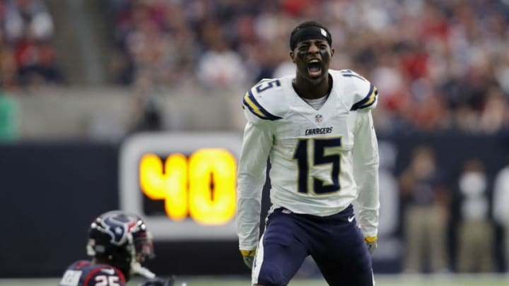 HOUSTON, TX - NOVEMBER 27: Dontrelle Inman #15 of the San Diego Chargers reacts after an unnessessary roughness penalty by Kareem Jackson #25 of the Houston Texans in the fourth quarter at NRG Stadium on November 27, 2016 in Houston, Texas. (Photo by Tim Warner/Getty Images)