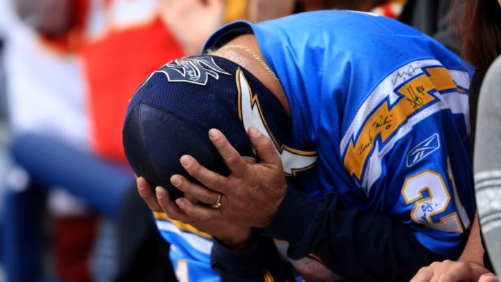 SAN DIEGO, CA - JANUARY 01: A San Diego Chargers fan reacts to a Kansas City Chiefs interception during the first half of a game at Qualcomm Stadium on January 1, 2017 in San Diego, California. (Photo by Sean M. Haffey/Getty Images)