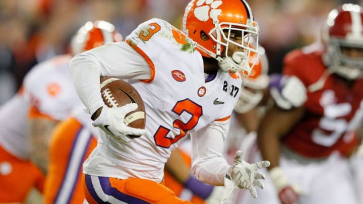 TAMPA, FL - JANUARY 09: Wide receiver Artavis Scott #3 of the Clemson Tigers runs with the ball during the first half against the Alabama Crimson Tide in the 2017 College Football Playoff National Championship Game at Raymond James Stadium on January 9, 2017 in Tampa, Florida. (Photo by Kevin C. Cox/Getty Images)