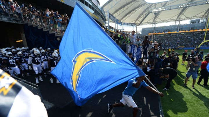 CARSON, CA - AUGUST 13: Los Angeles Chargers enter the stadium to make their StubHub Center debut during a pre season football game against the Seattle Seahawks August 13, 2017, in Carson, California. (Photo by Kevork Djansezian/Getty Images)
