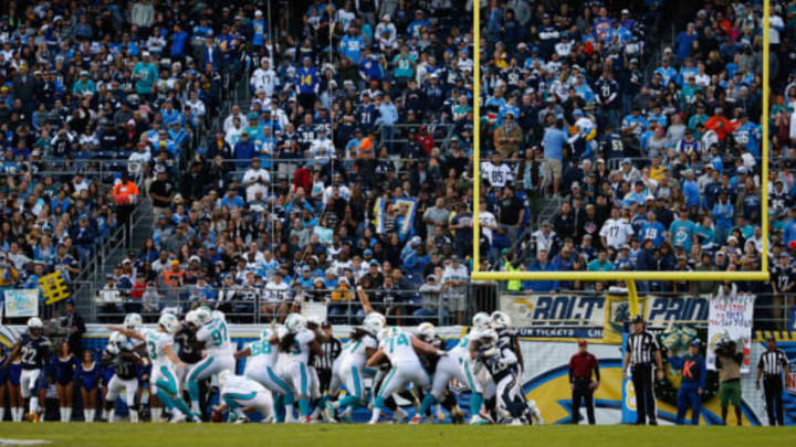 SAN DIEGO, CA – DECEMBER 20: Fans watch a game between the San Diego Chargers and Miami Dolphins at Qualcomm Stadium on December 20, 2015 in San Diego, California. (Photo by Sean M. Haffey/Getty Images)