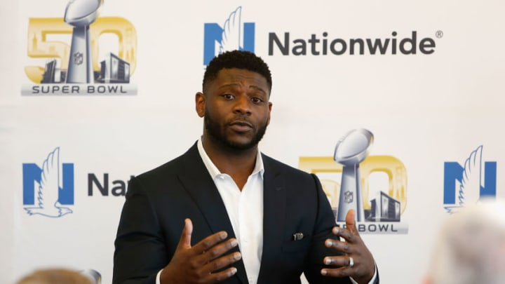 SAN FRANCISCO, CA - FEBRUARY 06: Emcee LaDainian Tomlinson addresses guests in the Nationwide Lounge at the JW Marriott on February 6, 2016 in San Francisco, California. (Photo by Lachlan Cunningham/Getty Images for Nationwide)