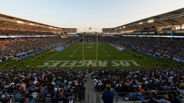 CARSON, CA - AUGUST 13: Fans look on as the Los Angeles Chargers make their StubHub Center debut against the Seattle Seahawks August 13, 2017, in Carson, California. (Photo by Kevork Djansezian/Getty Images)