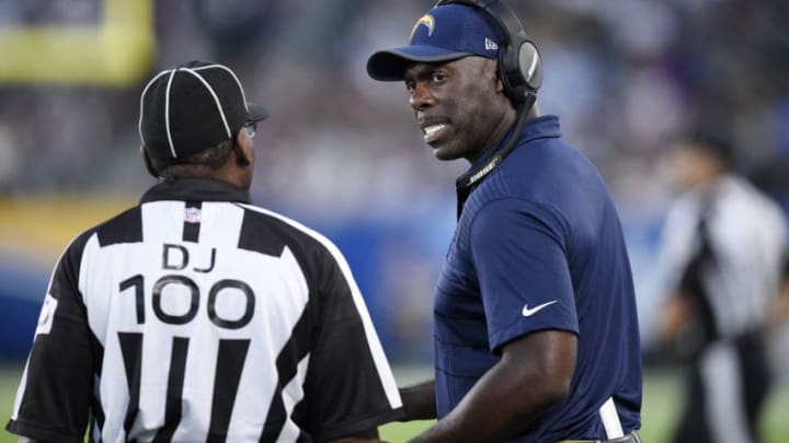 CARSON, CA - AUGUST 20: Coach Anthony Lynn (L) of the Los Angeles Chargers complains to head linesman Tom Symonette during the second half of a preseason football game against New Orleans Saints at the StubHub Center August 20, 2017, in Carson, California. (Photo by Kevork Djansezian/Getty Images)