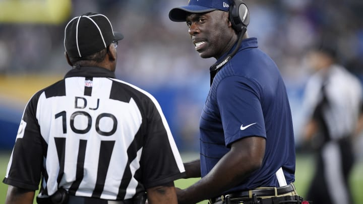 CARSON, CA – AUGUST 20: Coach Anthony Lynn (L) of the Los Angeles Chargers complains to head linesman Tom Symonette during the second half of a preseason football game against New Orleans Saints at the StubHub Center August 20, 2017, in Carson, California. (Photo by Kevork Djansezian/Getty Images)