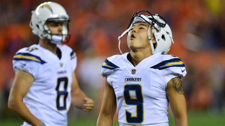 DENVER, CO – SEPTEMBER 11: Kicker Younghoe Koo #9 of the Los Angeles Chargers reacts to missing a game-tying field goal in the fourth quarter to lose the game against the Denver Broncos at Sports Authority Field at Mile High on September 11, 2017 in Denver, Colorado. (Photo by Dustin Bradford/Getty Images)