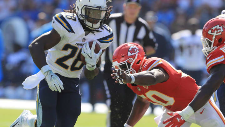 CARSON, CA - SEPTEMBER 24: Melvin Gordon #28 of the Los Angeles Chargers avoids the tackle during the game against the Kansas City Chiefs at the StubHub Center on September 24, 2017 in Carson, California. (Photo by Sean M. Haffey/Getty Images)