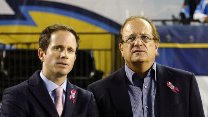 SAN DIEGO, CA-OCTOBER-14: San Diego Chargers football team owner Dean Spanos and his son John Spanos follow the action against Indianapolis Colts at Qualcomm Stadium October 14, 2013 in San Diego, California. (Photo by Kevork Djansezian/Getty Images)