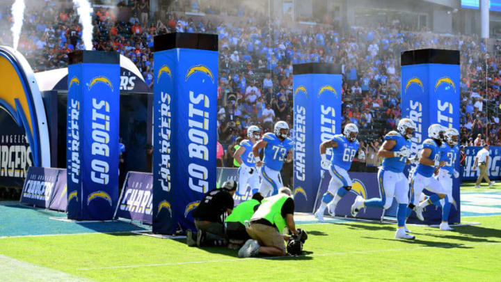 CARSON, CA - OCTOBER 22: The Los Angeles Chargers take the field prior to a game against the Denver Broncos at the StubHub Center on October 22, 2017 in Carson, California. (Photo by Harry How/Getty Images)
