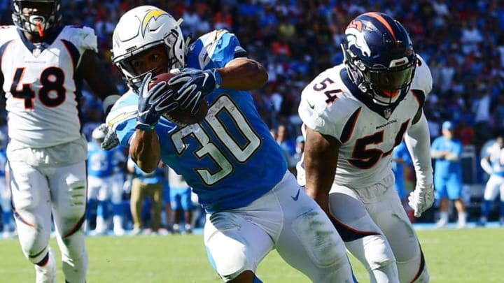 CARSON, CA - OCTOBER 22: Austin Ekeler #30 of the Los Angeles Chargers scores a touchdown during the game against the Denver Broncos at the StubHub Center on October 22, 2017 in Carson, California. (Photo by Harry How/Getty Images)