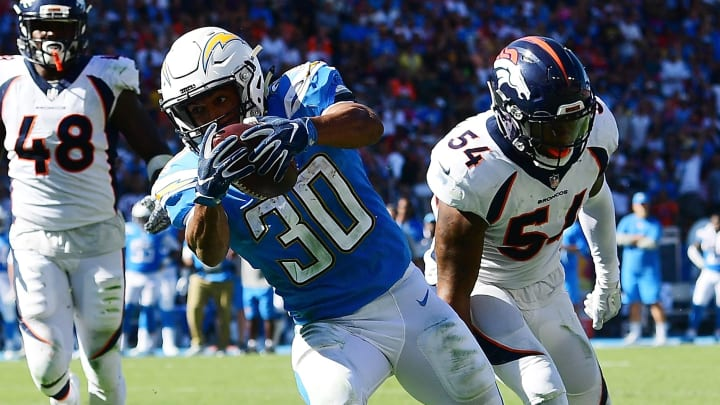 CARSON, CA – OCTOBER 22: Austin Ekeler #30 of the Los Angeles Chargers scores a touchdown during the game against the Denver Broncos at the StubHub Center on October 22, 2017 in Carson, California. (Photo by Harry How/Getty Images)