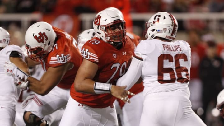 SALT LAKE CITY, UT - OCTOBER 7: Offensive lineman Jordan Agasiva #79 of the Utah Utes blocks defensive tackle Harrison Phillips #66 of the Stanford Cardinal during the first half of an college football game on October 7, 2017 at Rice Eccles Stadium in Salt Lake City, Utah. (Photo by George Frey/Getty Images)