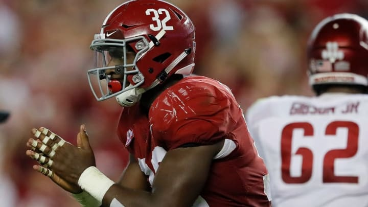 TUSCALOOSA, AL - OCTOBER 14: Rashaan Evans #32 of the Alabama Crimson Tide reacts after sacking Cole Kelley #15 of the Arkansas Razorbacks at Bryant-Denny Stadium on October 14, 2017 in Tuscaloosa, Alabama. (Photo by Kevin C. Cox/Getty Images)