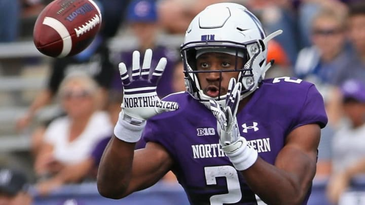 EVANSTON, IL - SEPTEMBER 02: Justin Jackson #21 of the Northwestern Wildcats catches a pass against the Nevada Wolf Pack at Ryan Field on September 2, 2017 in Evanston, Illinois. (Photo by Jonathan Daniel/Getty Images)