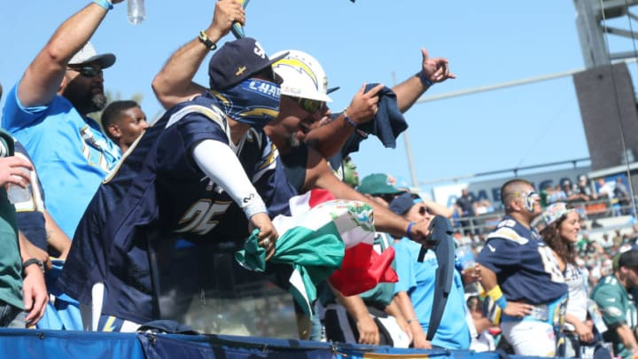 CARSON, CA - OCTOBER 01: Los Angeles Chargers fans are seen during the game against the Philadelphia Eagles at StubHub Center on October 1, 2017 in Carson, California. (Photo by Stephen Dunn/Getty Images)